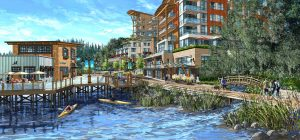 The planned waterfront Seawalk connected Gibsons Landing village to the Gibsons Marina